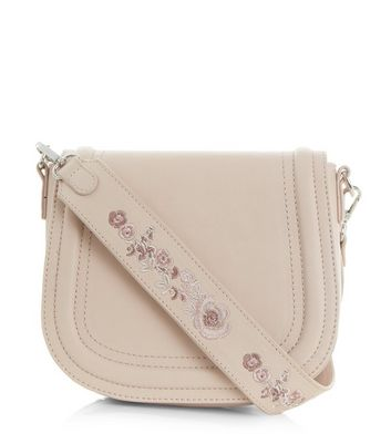 Cream Floral Embroidery Saddle Bag
