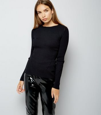 Black Ribbed Jumper