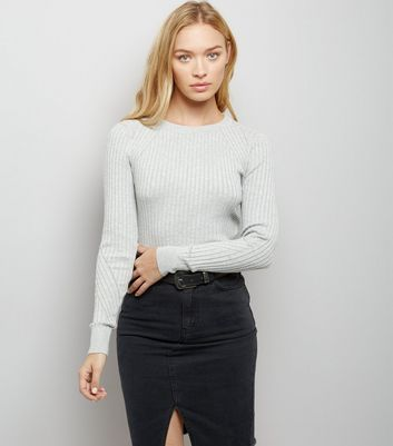Pale Grey Ribbed Jumper