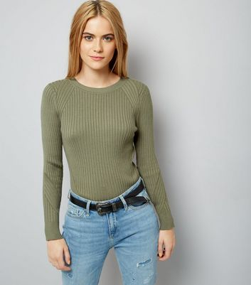 Olive Green Ribbed Jumper