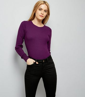 Dark Purple Ribbed Jumper