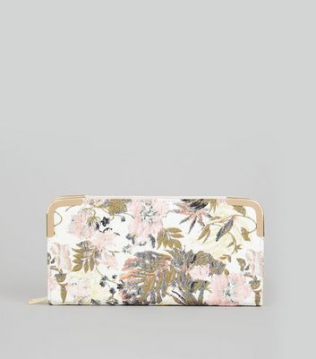 Pink Floral Jacquard Zip Around Purse