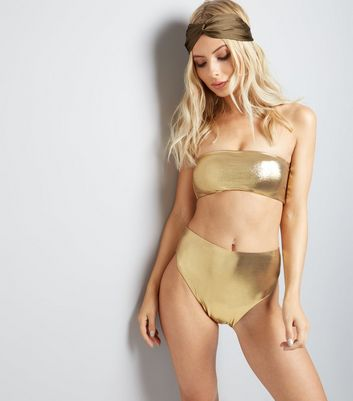 Pool To Party Gold High Leg Bikini Bottoms