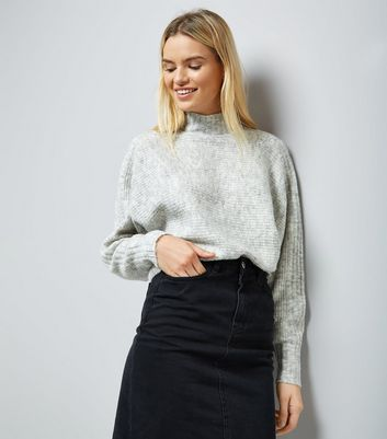 Grey Ribbed Batwing Sleeve Funnel Neck Jumper