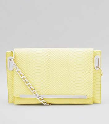 Yellow Snakeskin Texture Cross Body Bag