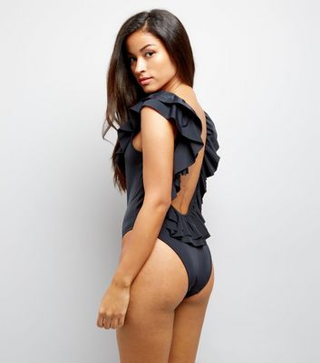 Black Frill Trim Plunge Back Swimsuit
