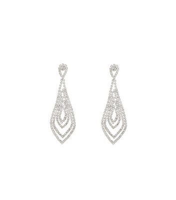 Silver Chandelier Diamante Drop Earrings