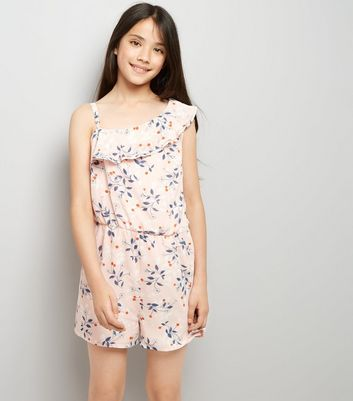Teens Pink Floral Print Asymmetric Frill Playsuit