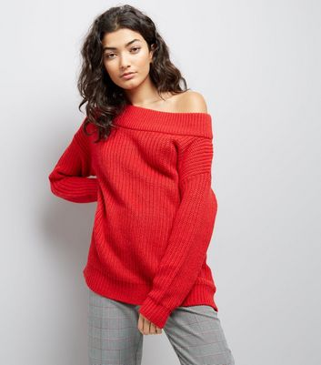 Red Ribbed Bardot Off the Shoulder Jumper