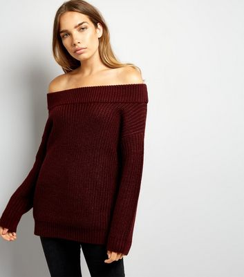Burgundy Ribbed Bardot Neck Jumper