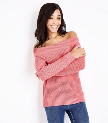 Pink Ribbed Bardot Neck Jumper