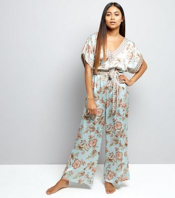 Petite Mint Green Contrast Floral Satin Lounge Jumpsuit