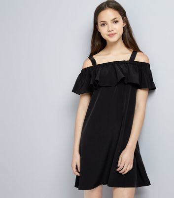 Teens Black Frill Trim Bardot Neck Dress