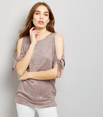 Shell Pink Tie Sleeve Cold Shoulder Longline Top