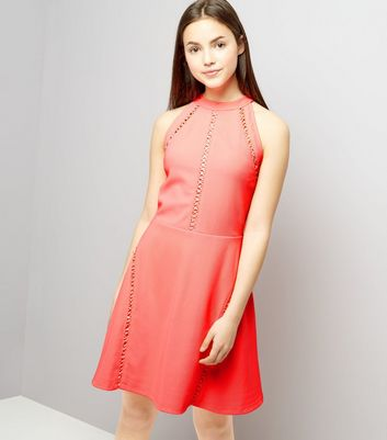Teens Coral Ribbed Lattice Trim Skater Dress