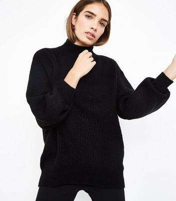 Black Longline Funnel Neck Jumper