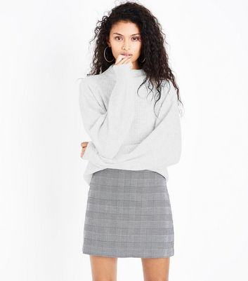 Pale Grey Ribbed Balloon Sleeve Jumper
