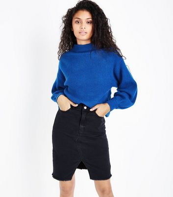 Blue Ribbed Balloon Sleeve Jumper