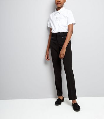 Teens Black Pocket Trim Trousers
