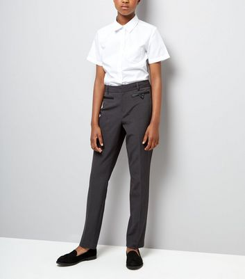Teens Grey Pocket Trim Trousers