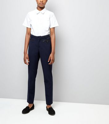 Teens Navy Pocket Trim Trousers