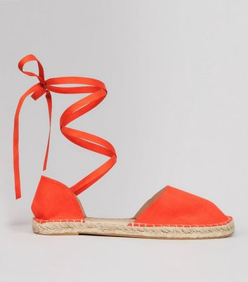 Wide Fit Orange Ankle Tie Espadrille Sandals