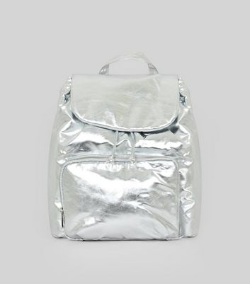 Silver Metallic Drawstring Backpack