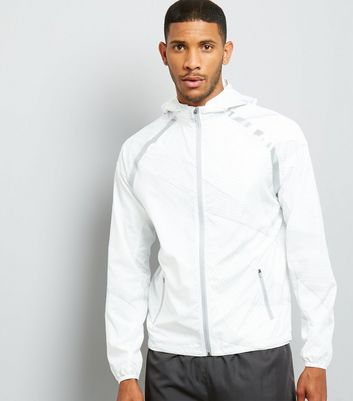 White Linear Print Hooded Sports Jacket