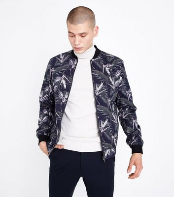 Navy Palm Print Tailored Bomber Jacket