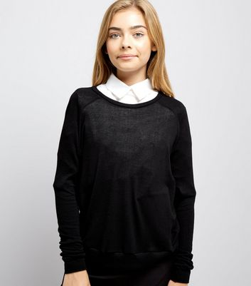 Teens Black Long Sleeve Crew Neck Jumper