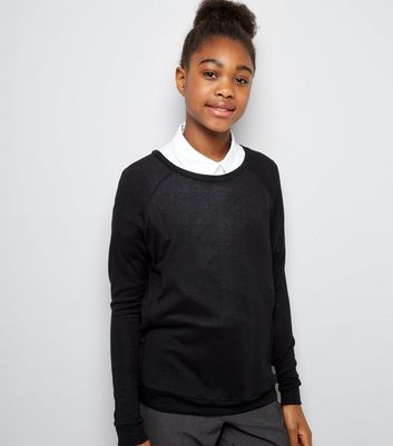 Teens Black Long Sleeve Jumper