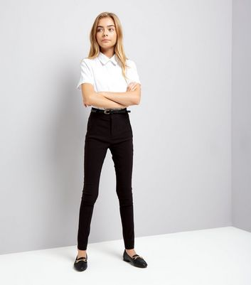 Teens Black Belted Skinny Trousers
