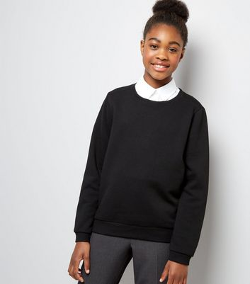 Teens Black Crew Neck Jumper