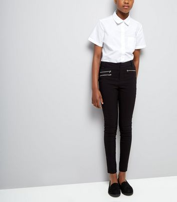 Teens Black Zip Pocket Skinny Trousers