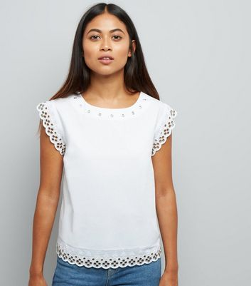 Petite White Eyelet Broderie Trim Top
