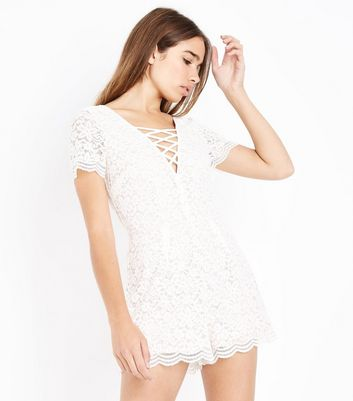 Cream Lace Lattice Front Playsuit