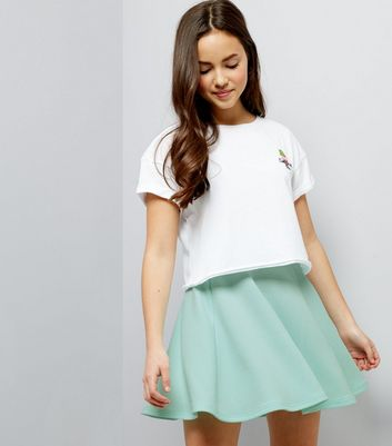 Teens Mint Green Crepe Skater Skirt