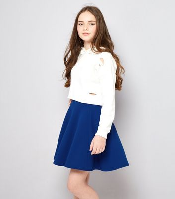 Teens Blue Crepe Skater Skirt