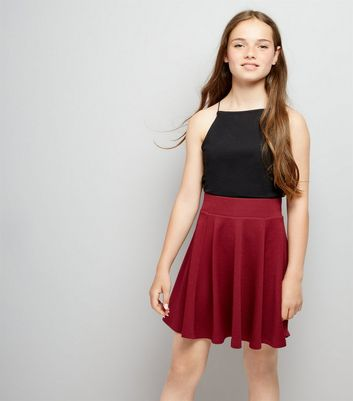 Teens Burgundy Crepe Skater Skirt