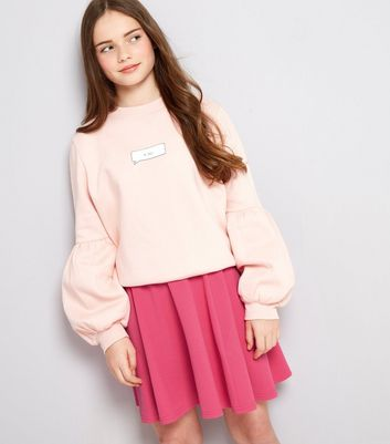 Teens Bright Pink Crepe Skater Skirt