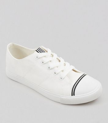 White Canvas Stripe Detail Trainers