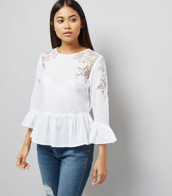 Petite White Cut Out Lace Frill Trim Top