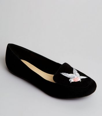 Black Suedette Bird Embroirdered Tab Slipper Shoes