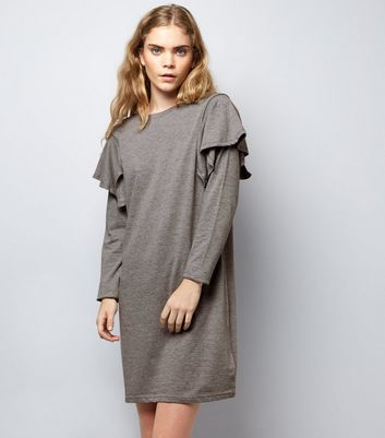 Grey Frill Trim Sweater Dress