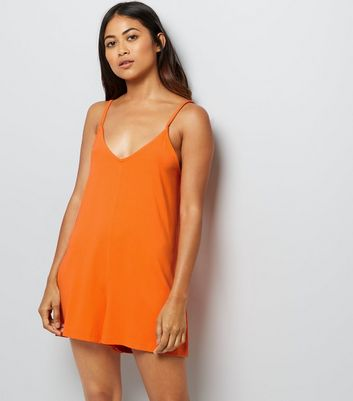 Petite Orange Lattice Back Jersey Playsuit