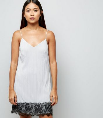 Petite Pale Grey Lace Trim Pleated Slip Dress