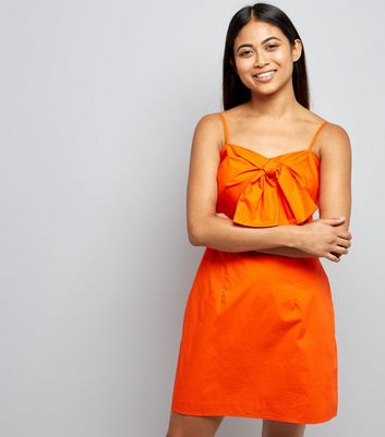 Petite Orange Tie Front Slip Dress