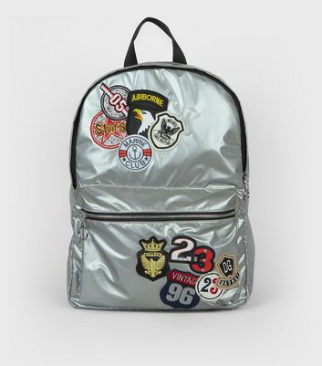 Silver Metallic Badge Detail Backpack