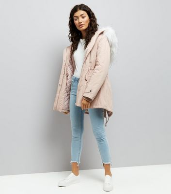 Pink Faux Fur Trim Hooded Parka