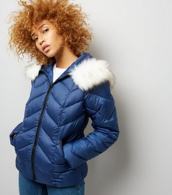 Navy Faux Fur Trim Hooded Chevron Puffer Jacket